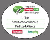 Part Load Alliance Auszeichnung Platz 1 Speditionskooperationen